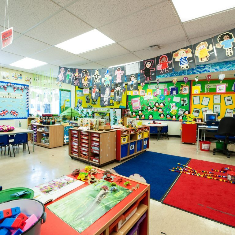 school classroom filled with artwork