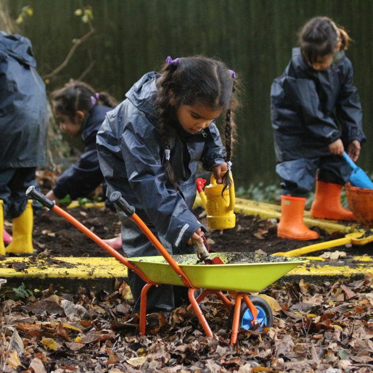 EYFS pupils gardening