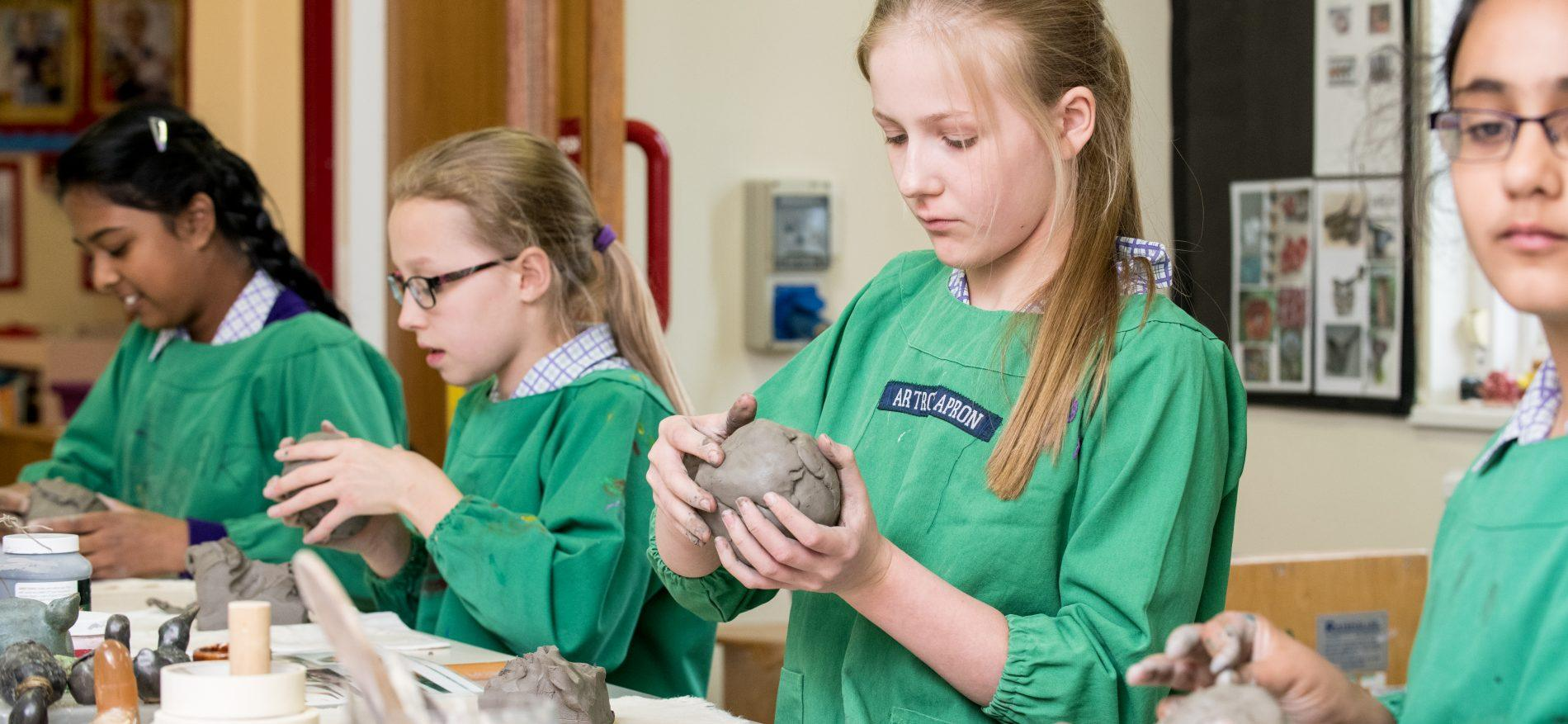 art students using clay