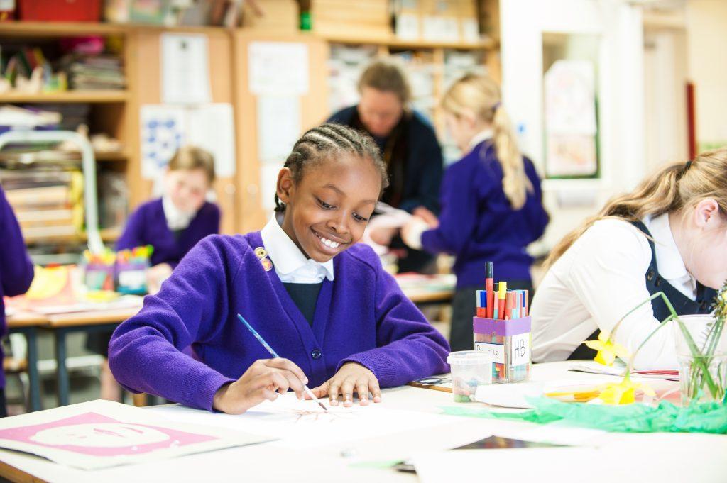 school girls in art class